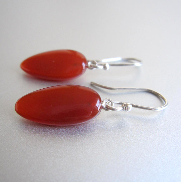 smooth carnelian red orange drops sterling silver earrings