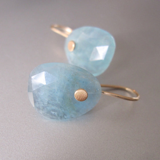 aquamarine rose cut drops solid 14k gold earrings