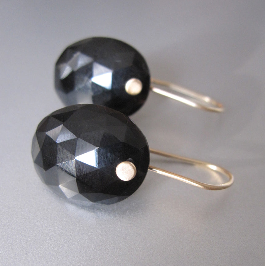 Black Spinel Rose Cut Oval Drops Solid 14k Gold Earrings