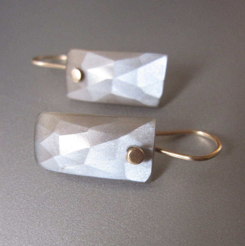 Gray Moonstone Rose Cut Baguette Drops Solid 14k Gold Earrings