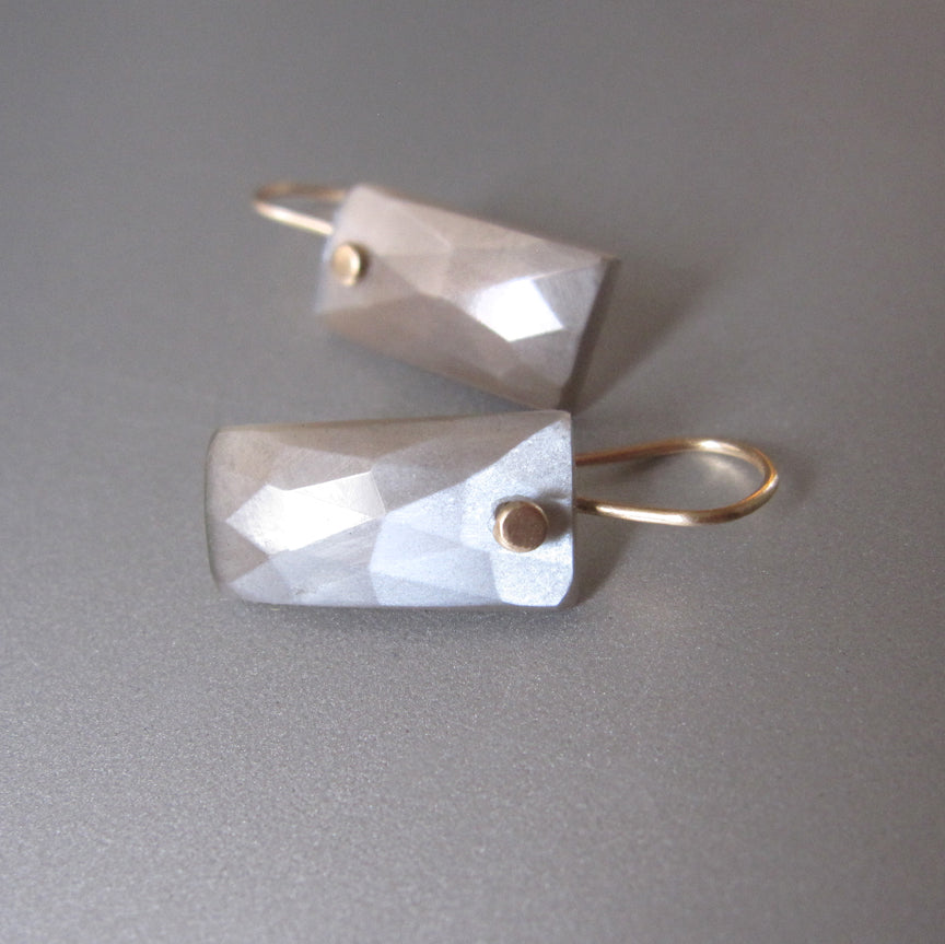 Gray Moonstone Rose Cut Baguette Drops Solid 14k Gold Earrings2
