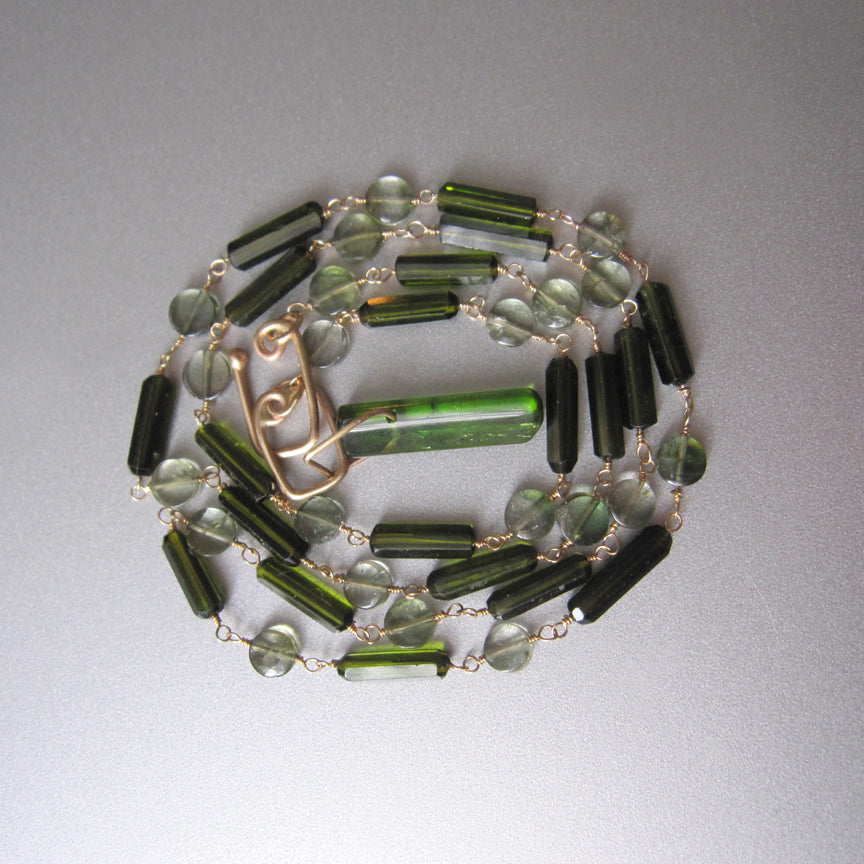 dark green tourmaline tube bead chrome green crystal solid 14k gold necklace2