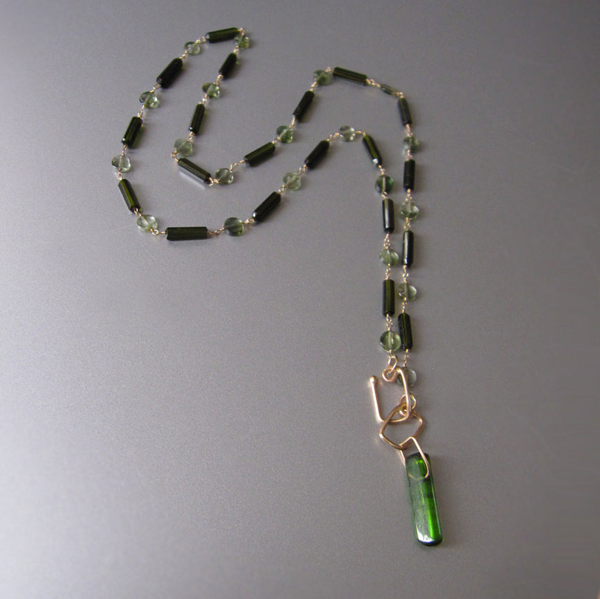 dark green tourmaline tube bead chrome green crystal solid 14k gold necklace