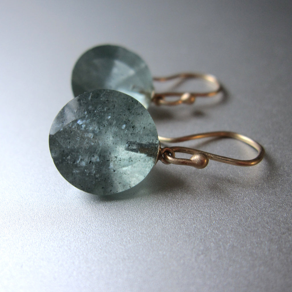 Moss Aquamarine Round Faceted Drops Solid 14k Gold Earrings 3