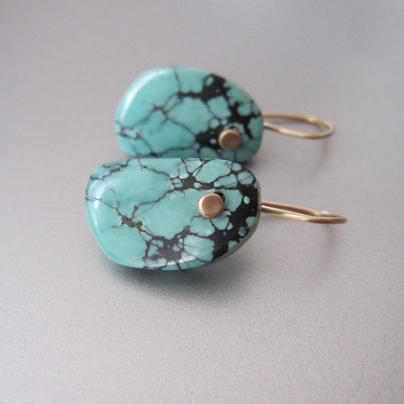 Blue Spiderweb Natural Turquoise Drops Solid 14k Gold Earrings