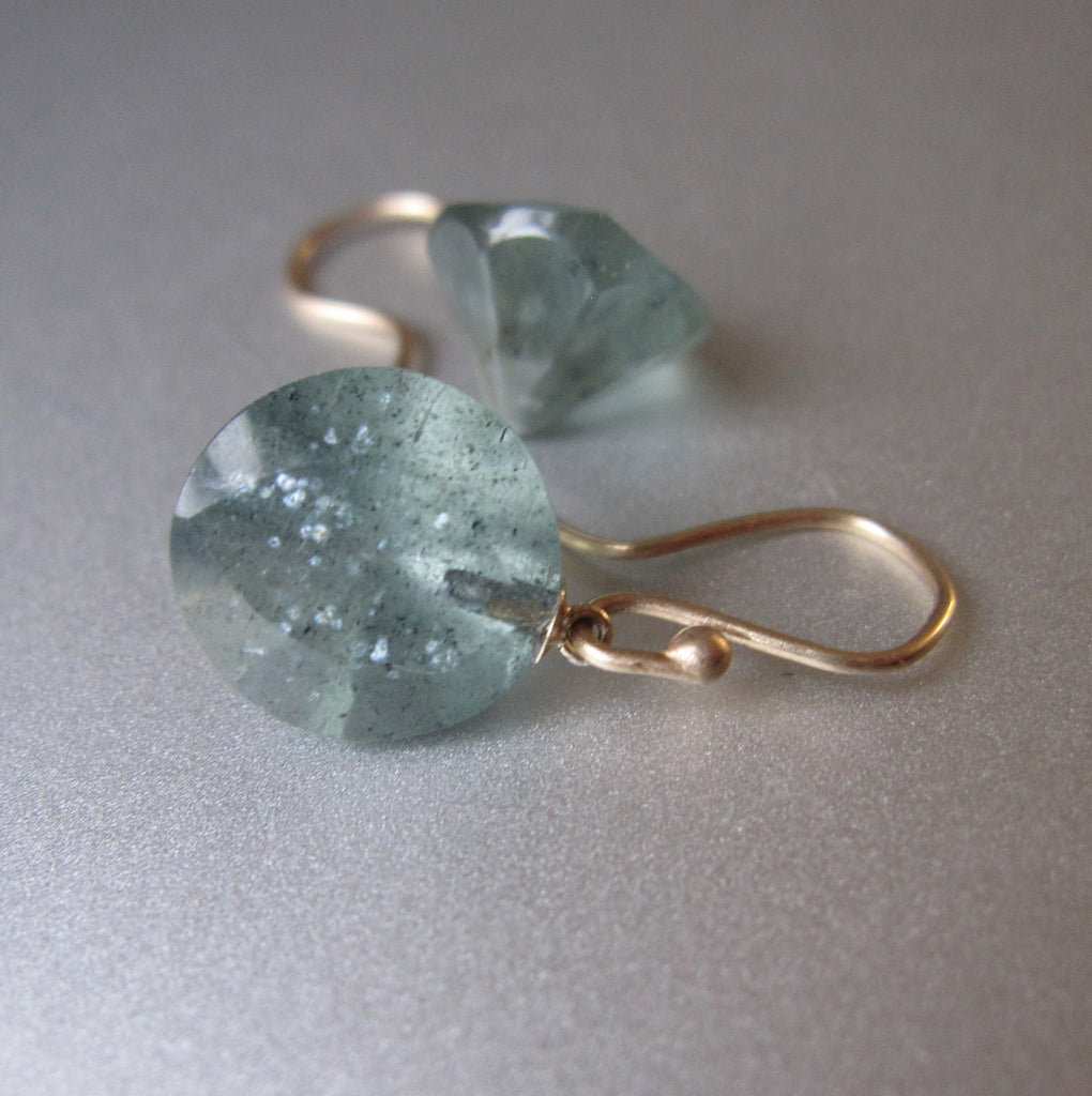 Moss Aquamarine Round Faceted Drops Solid 14k Gold Earrings 4