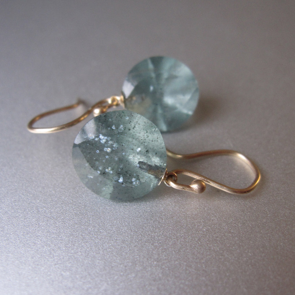 Moss Aquamarine Round Faceted Drops Solid 14k Gold Earrings 5