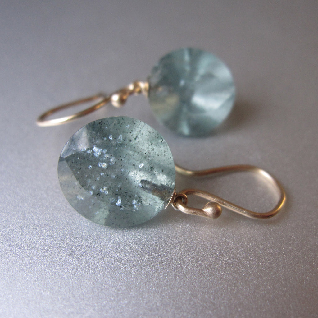 Moss Aquamarine Round Faceted Drops Solid 14k Gold Earrings