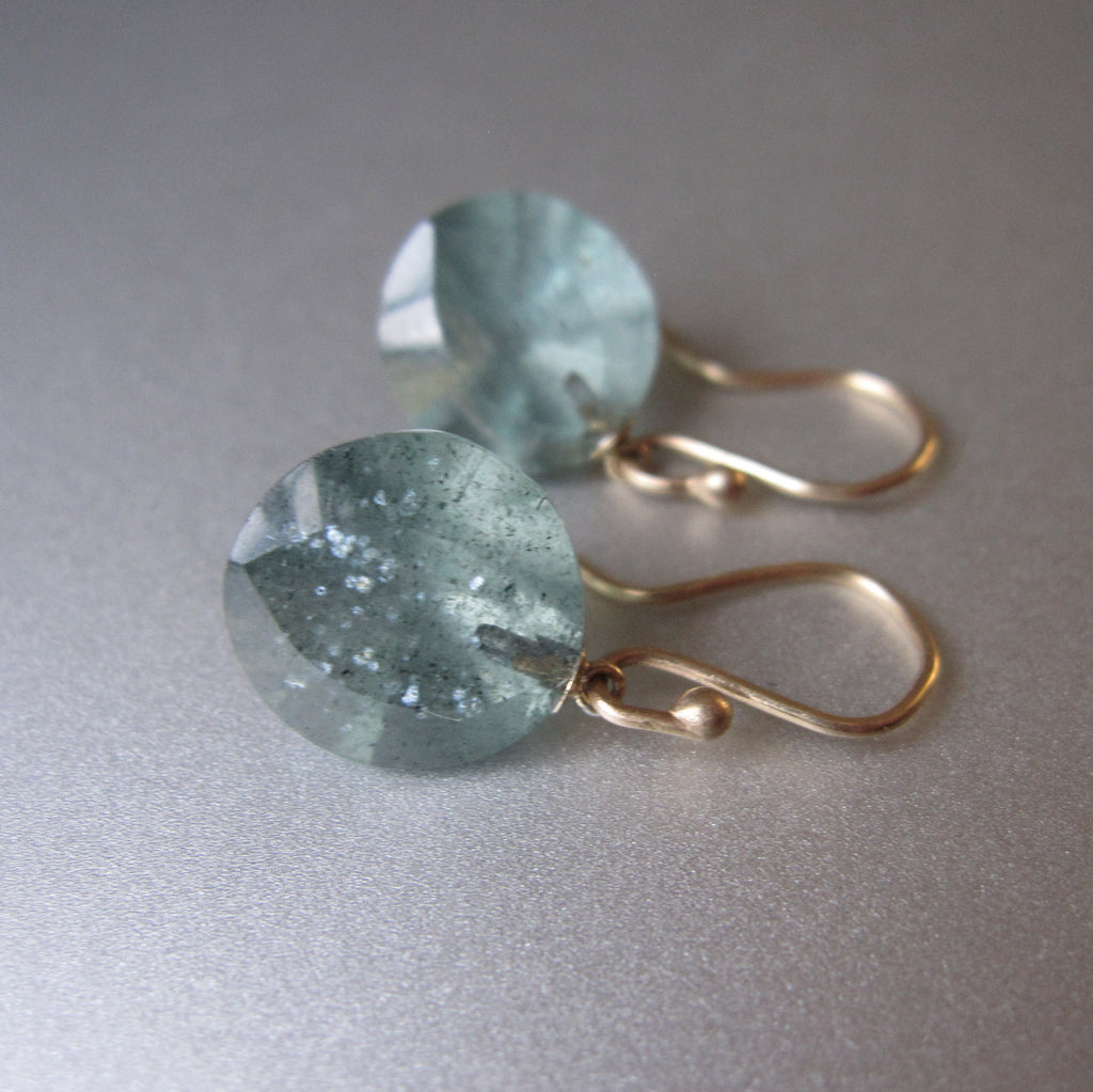 Moss Aquamarine Round Faceted Drops Solid 14k Gold Earrings 6