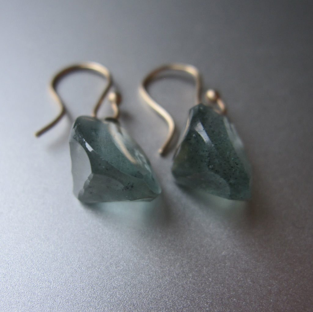 Moss Aquamarine Round Faceted Drops Solid 14k Gold Earrings 7