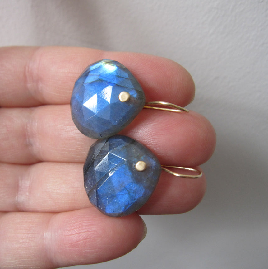 Large Blue Labradorite Faceted Drops Solid 14k Gold Earrings4