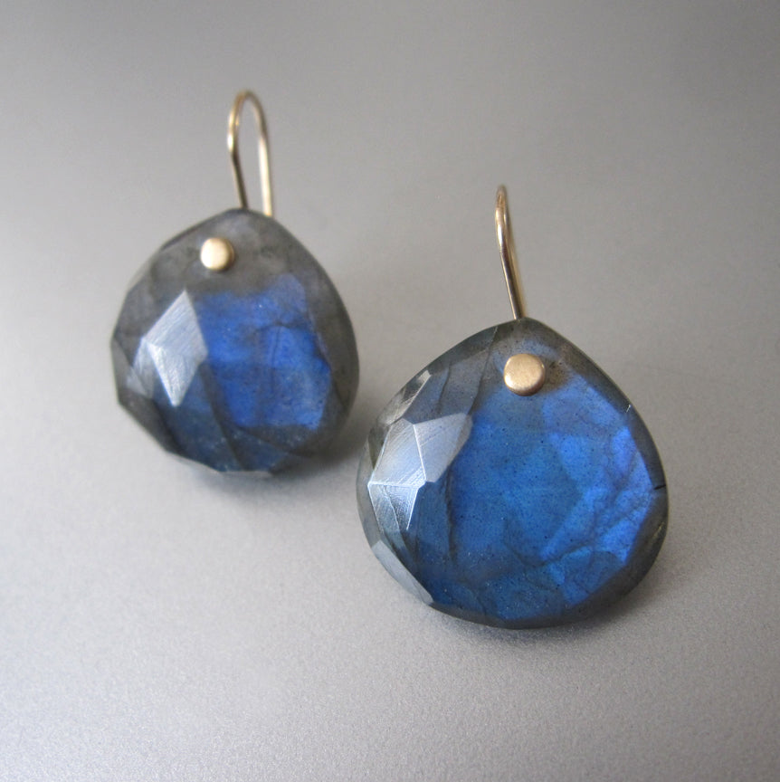 Large Blue Labradorite Faceted Drops Solid 14k Gold Earrings5