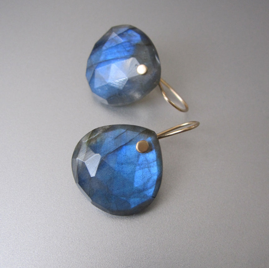 Large Blue Labradorite Faceted Drops Solid 14k Gold Earrings3
