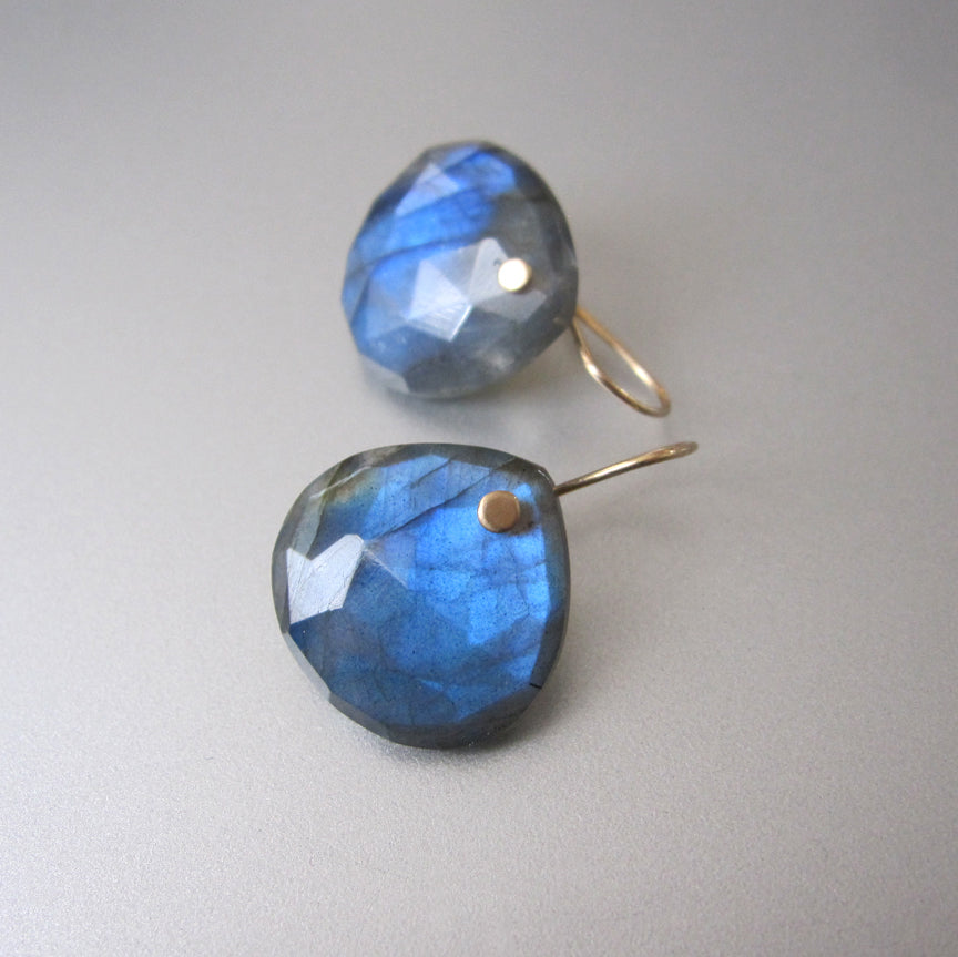 Large Blue Labradorite Faceted Drops Solid 14k Gold Earrings6