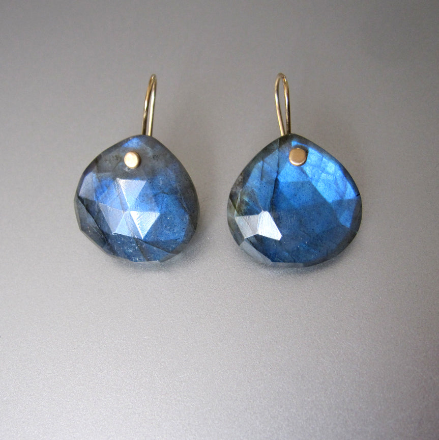 Large Blue Labradorite Faceted Drops Solid 14k Gold Earrings2