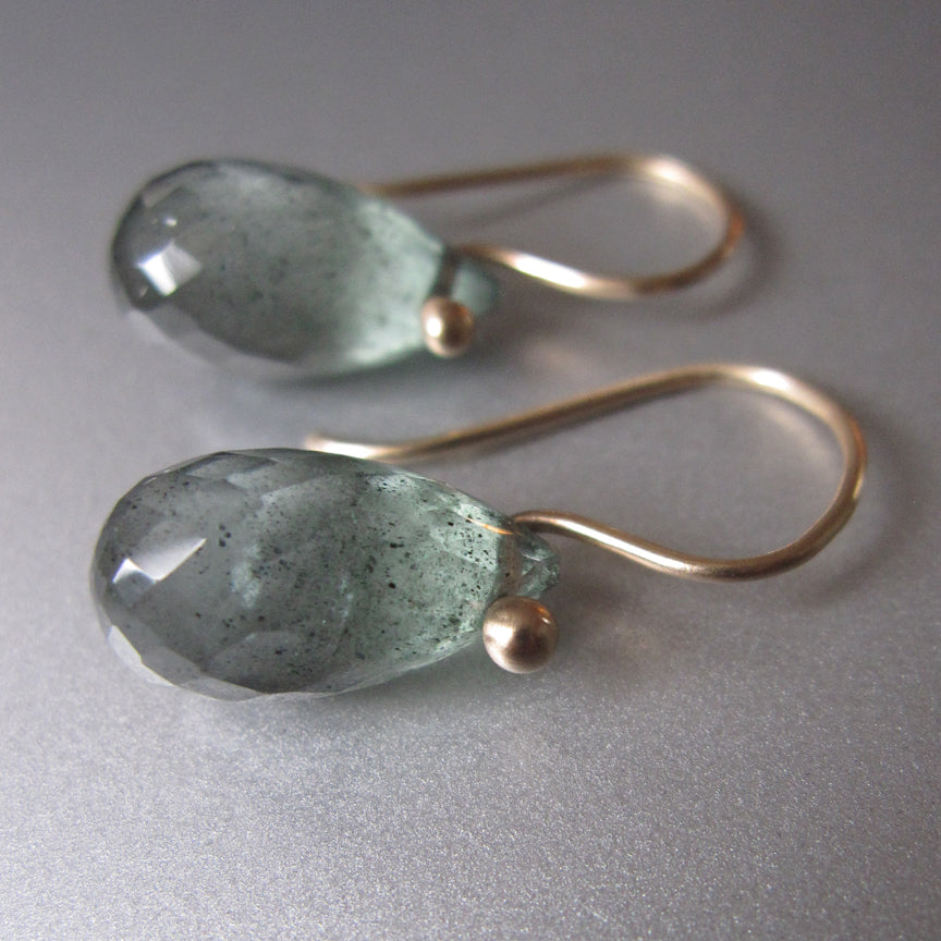 Moss Aquamarine Faceted Drops Solid 14k Gold Earrings