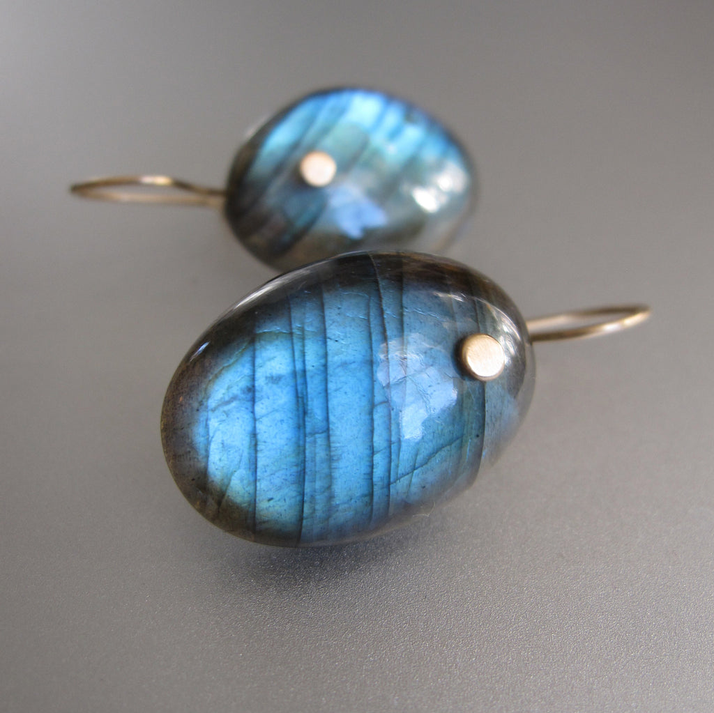 blue labradorite oval drops solid 14k gold earrings