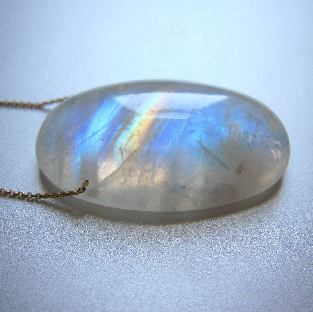 Rainbow Moonstone Long Oval Drop Solid 14k and 18k Gold Necklace 4