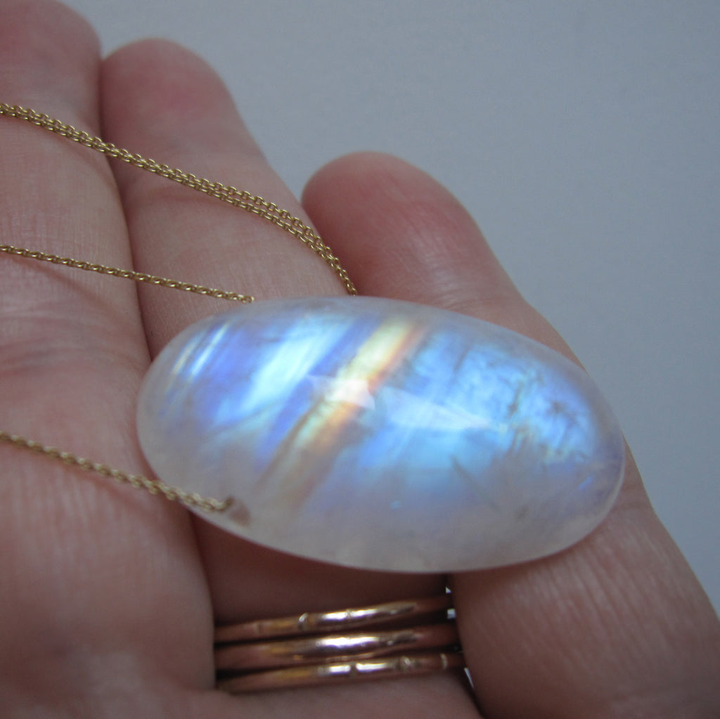 Rainbow Moonstone Long Oval Drop Solid 14k and 18k Gold Necklace 5