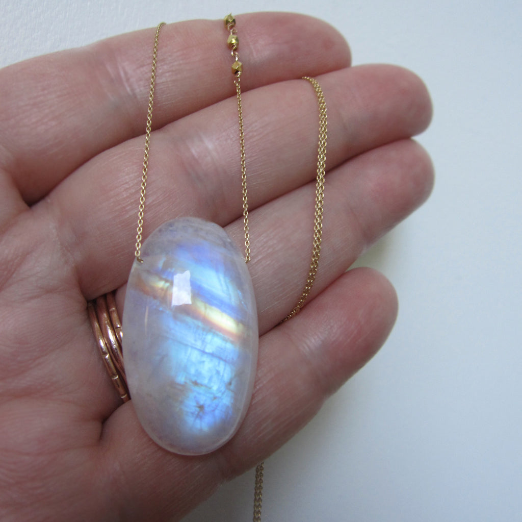 Rainbow Moonstone Long Oval Drop Solid 14k and 18k Gold Necklace