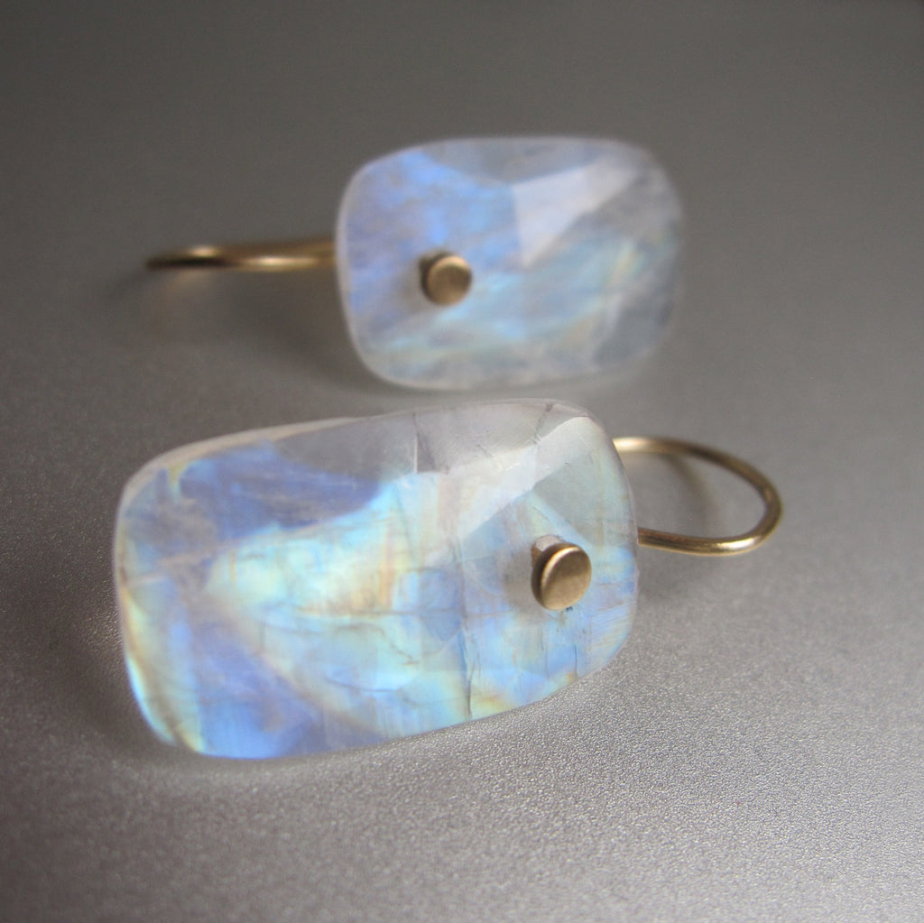 Rainbow Moonstone Long Cushion Rose Cut Drops Solid 14k Gold Earrings