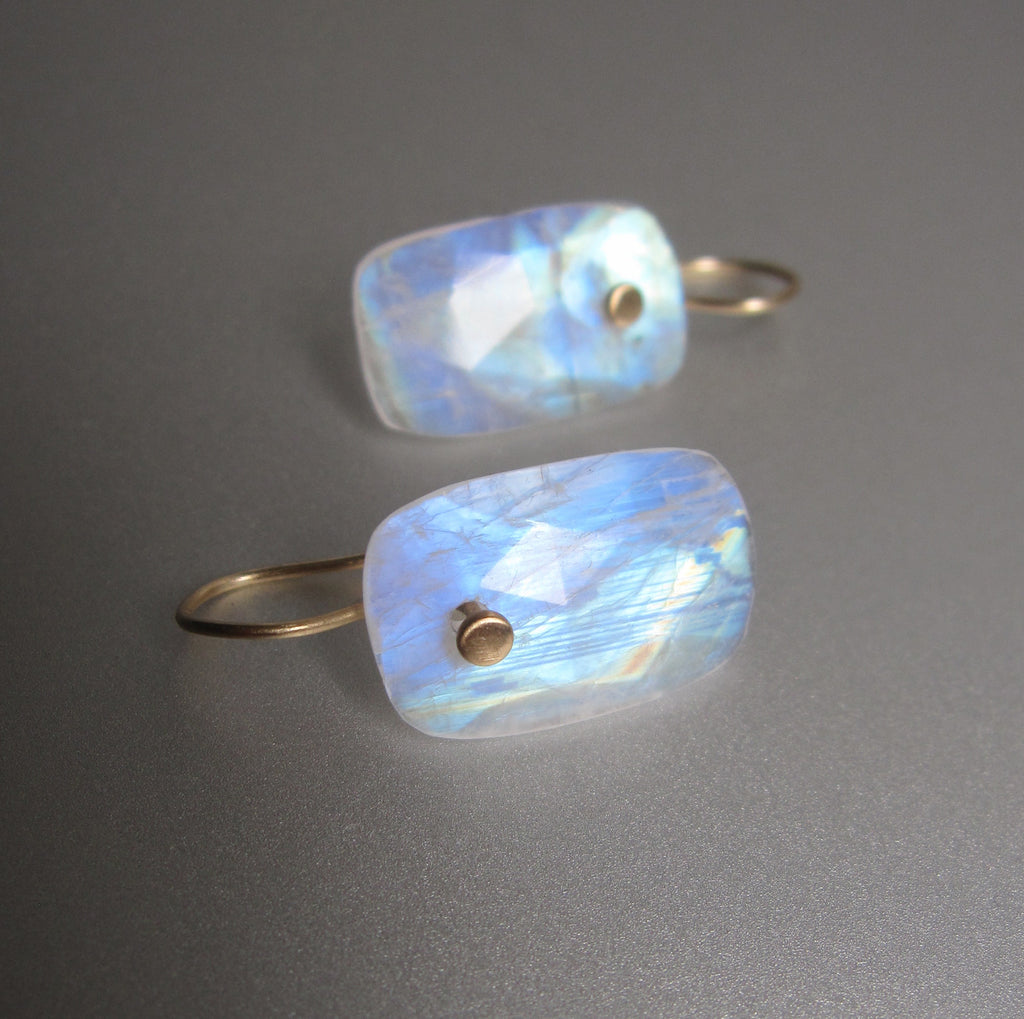 Rainbow Moonstone Long Cushion Rose Cut Drops Solid 14k Gold Earrings 2