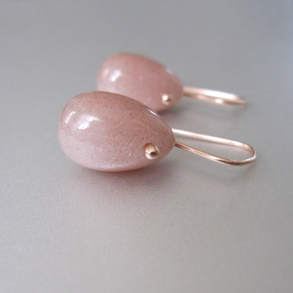 peach moonstone jellyben drops solid 14k rose gold earrings