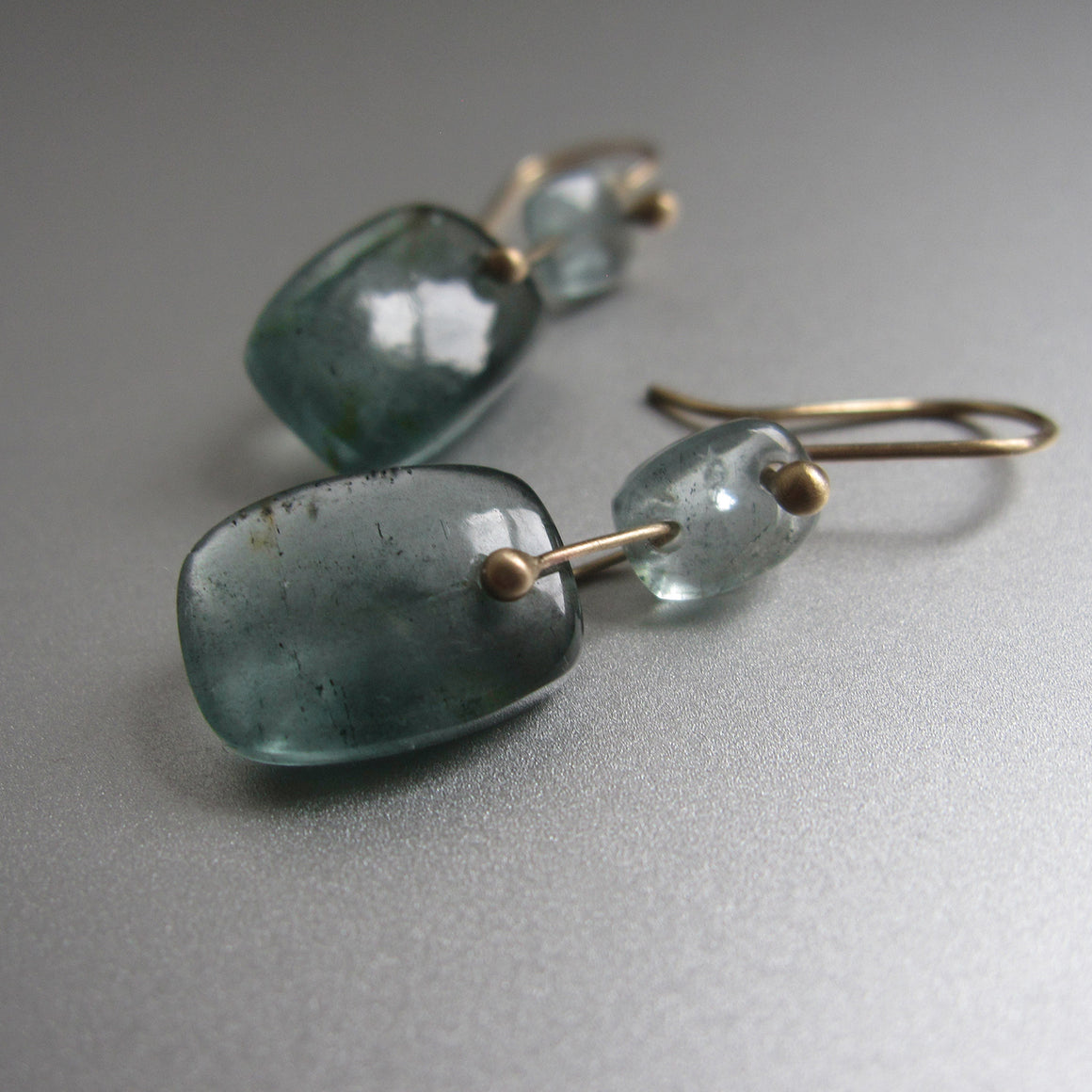moss aquamarine double cushion drop solid 14k gold earrings2