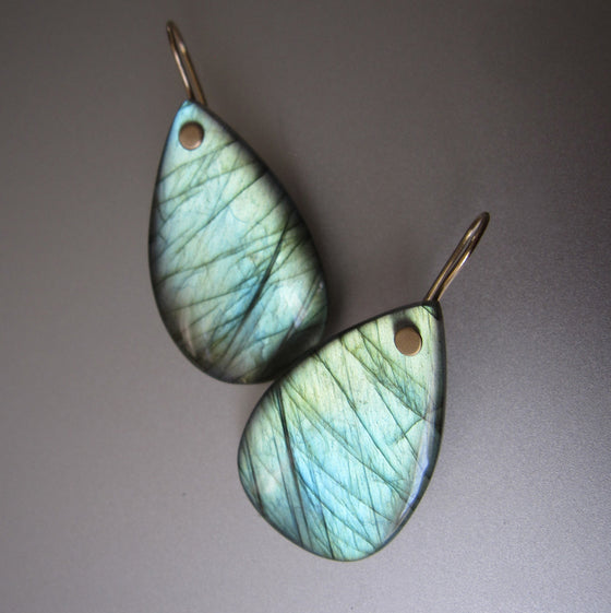 large smooth labradorite green drop solid 14k gold earrings