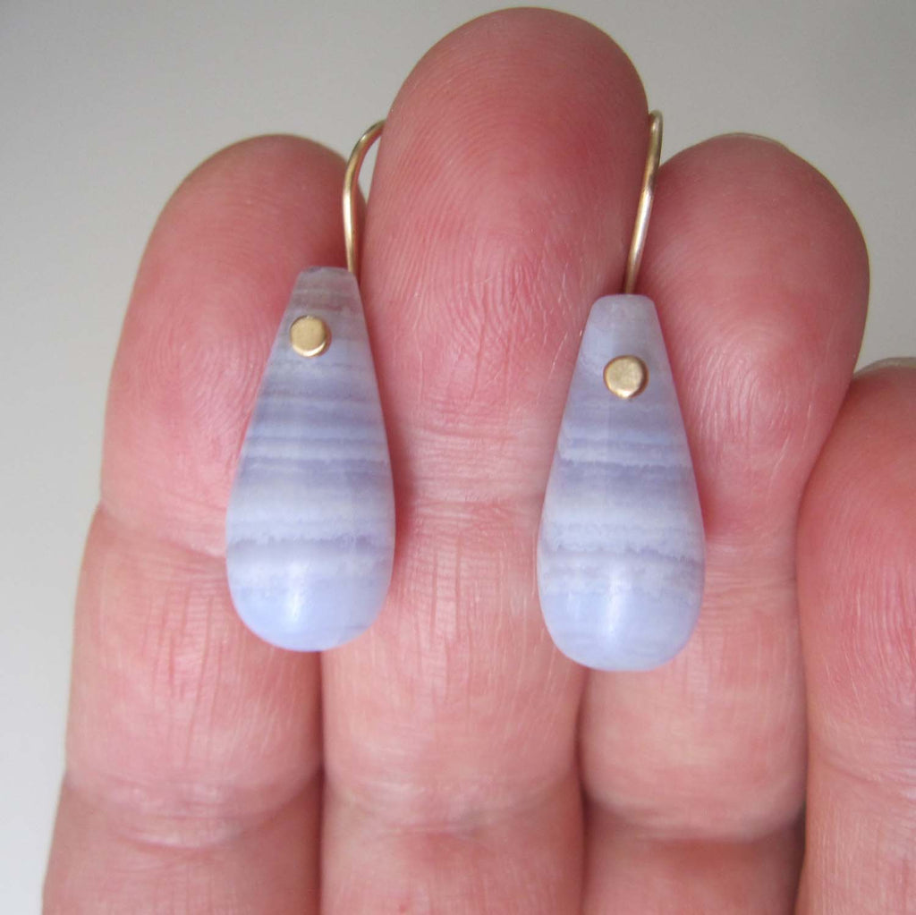 blue lace agate drops solid 14k gold earrings