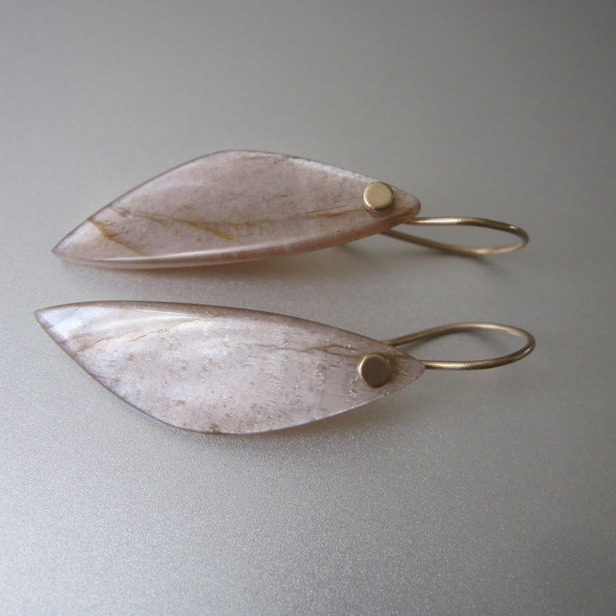 Long peach wing shaped moonstone drops solid 14k gold earrings5