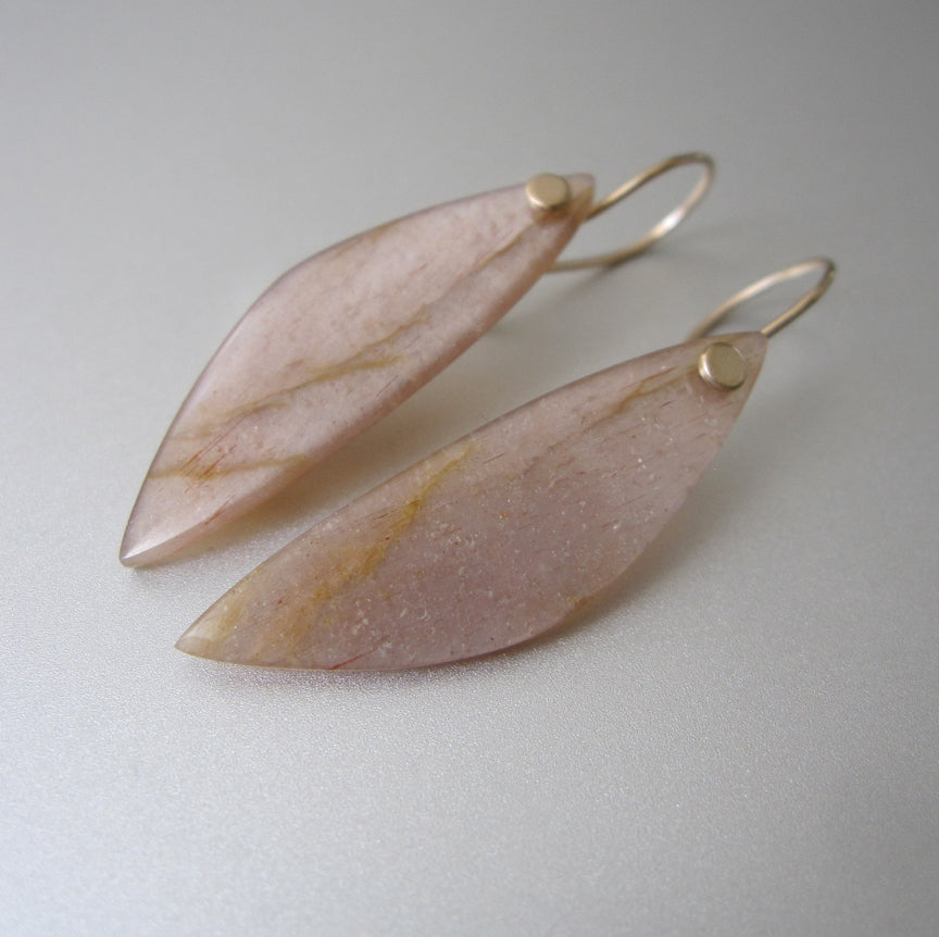 Long peach wing shaped moonstone drops solid 14k gold earrings3