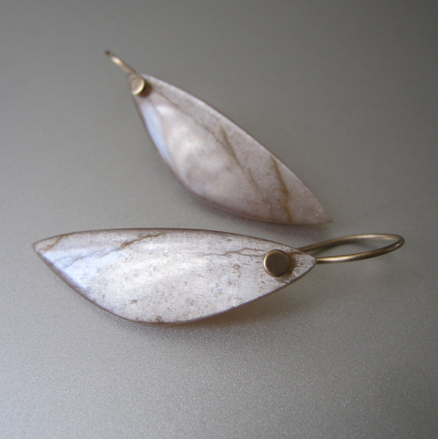 Long peach wing shaped moonstone drops solid 14k gold earrings2
