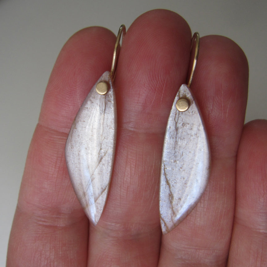 Long peach wing shaped moonstone drops solid 14k gold earrings6