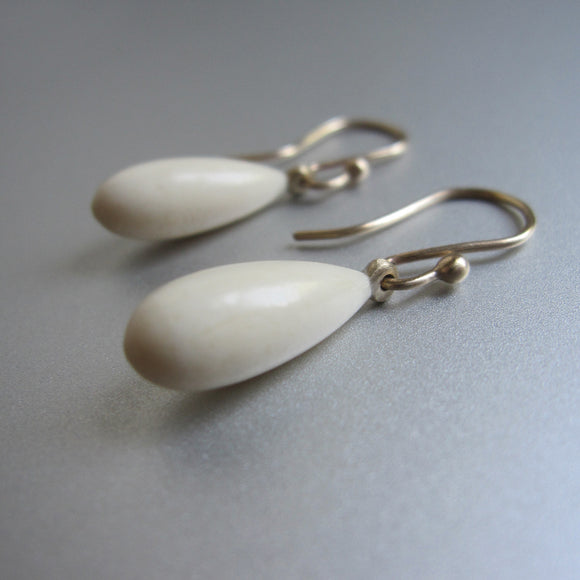 Bone Drops Solid 14k Gold Earrings