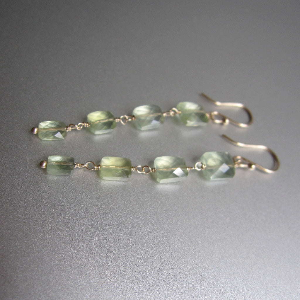 four cushion prehnite drops solid 14k gold earrings5