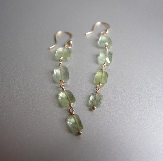 four cushion prehnite drops solid 14k gold earrings