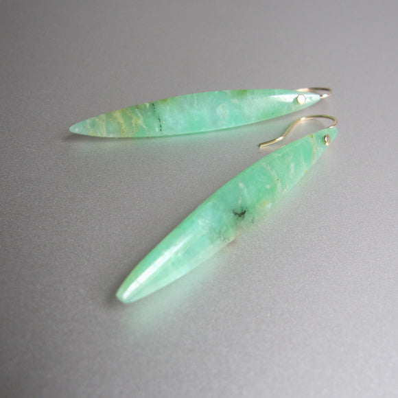 long skinny chrysoprase marquise drops solid 14k gold earrings