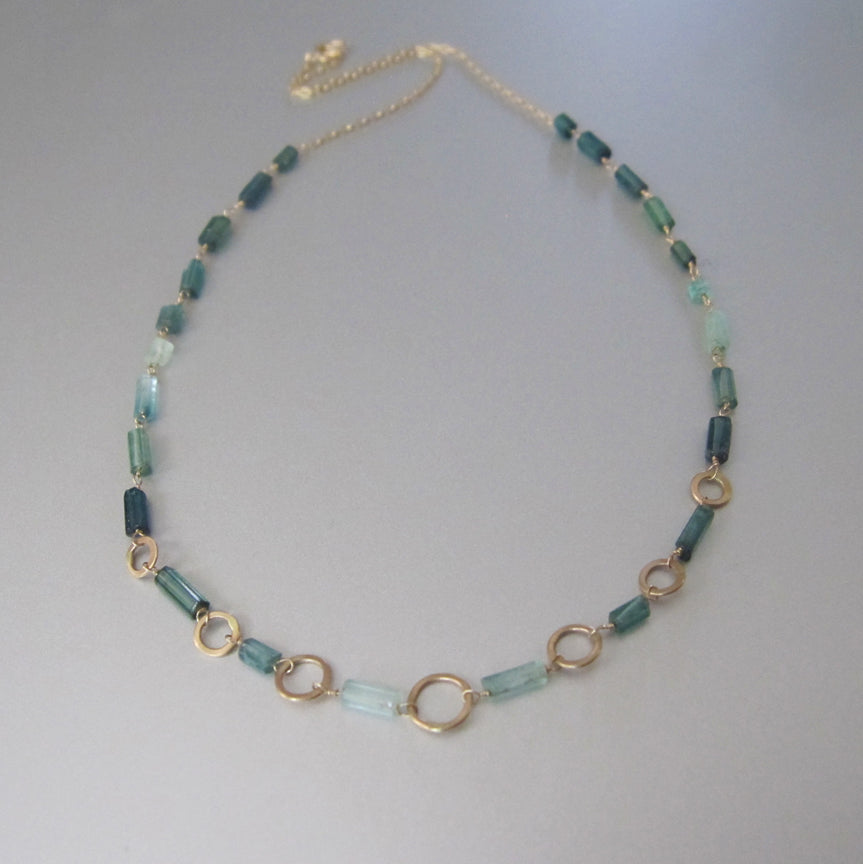 Indicolite Green Tourmaline Crystal Tube and Gold Ring Solid 14k Gold Necklace1