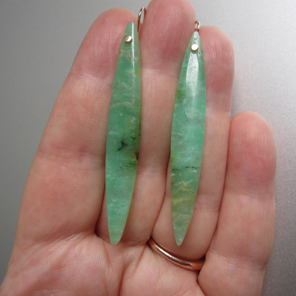 long skinny chrysoprase marquise drops solid 14k gold earrings3