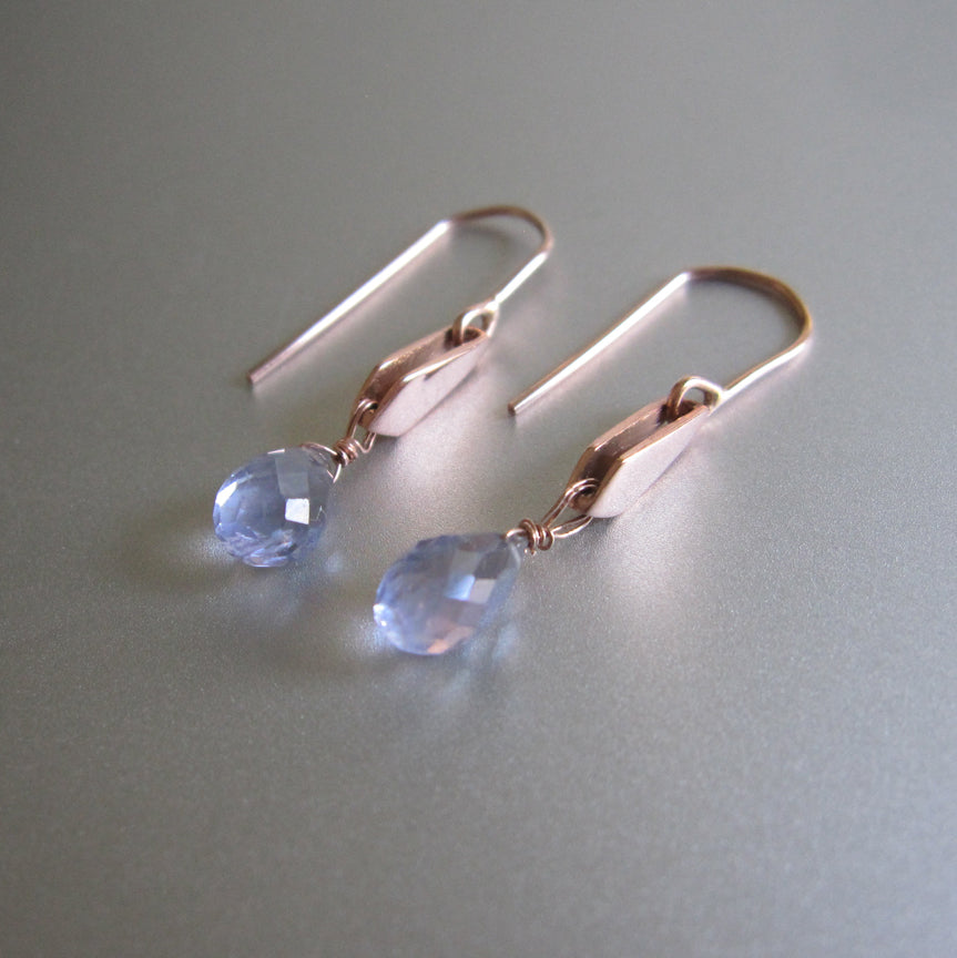 Blue Iolite Drops Gold Kite Solid 14k Rose Gold Earrings2