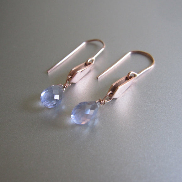 Blue Iolite Drops Gold Kite Solid 14k Rose Gold Earrings