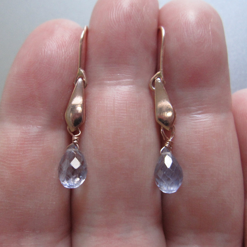Blue Iolite Drops Gold Kite Solid 14k Rose Gold Earrings4