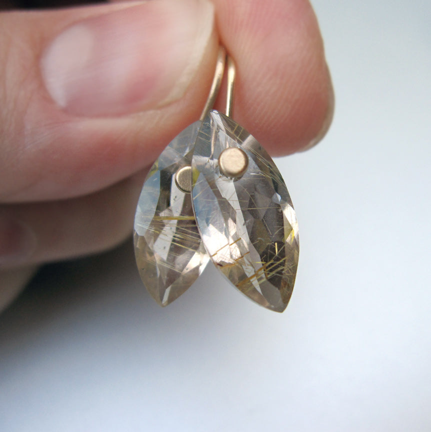 Smoky Gold Rutilated Quartz Marquise Drops Solid 14k Gold Earrings
