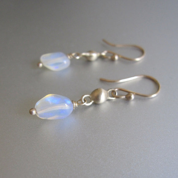 welo opal pebble drops solid 14k gold droplet link earrings