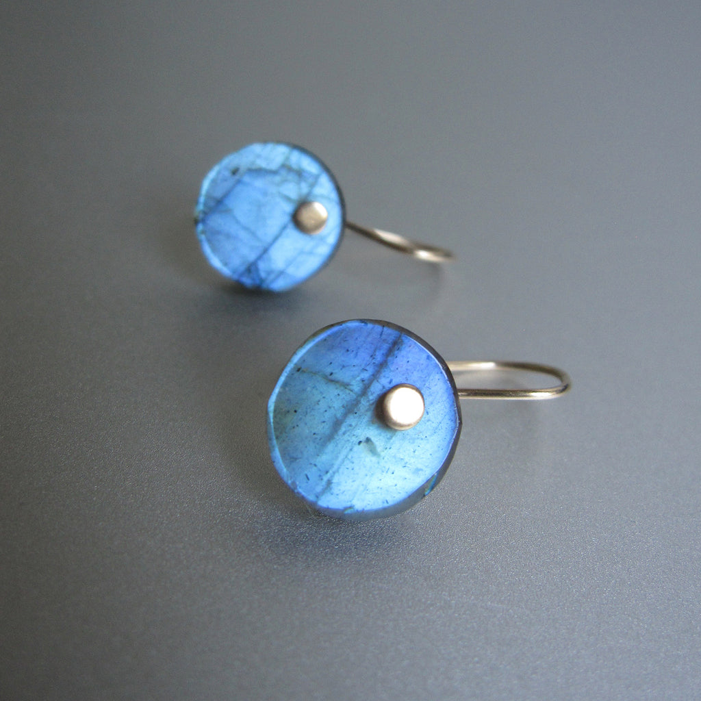 Blue Labradorite Disc Button Drops Solid 14k Gold Earrings3