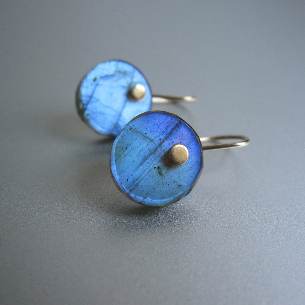 Blue Labradorite Disc Button Drops Solid 14k Gold Earrings2