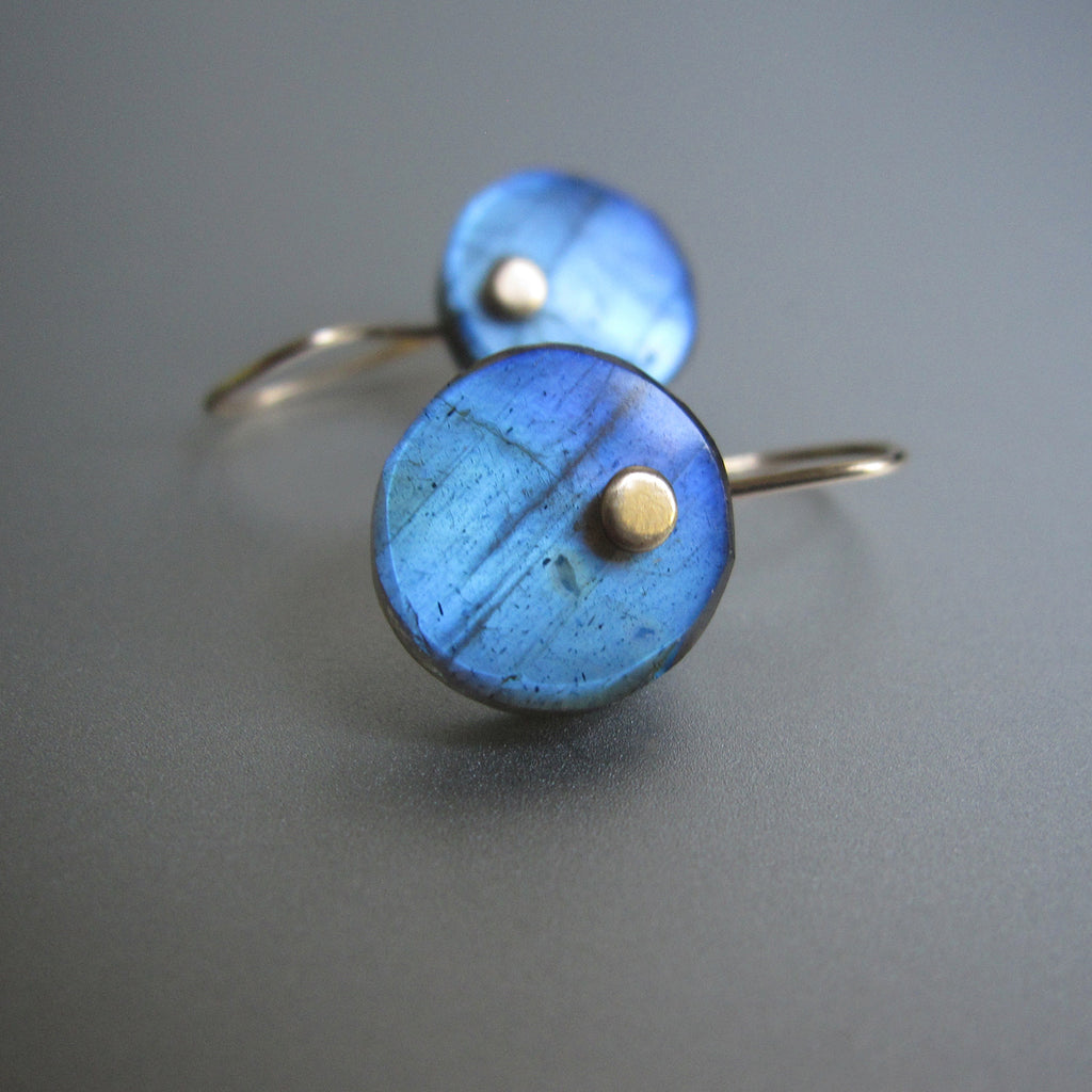 Blue Labradorite Disc Button Drops Solid 14k Gold Earrings