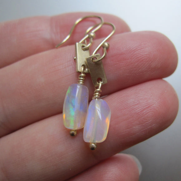 welo opal nugget solid 14k gold tab earrings