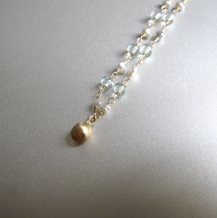 Keshi Seed Pearl Moss Aquamarine Solid 14k Gold Drop Necklace3